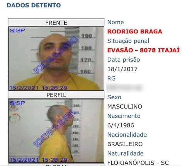 Turco é foragido do sistema prisional catarinense – Foto: Divulgação/ ND
