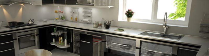 Cozinha com móveis e objetos aramados e cada coisa em seu lugar – Foto: Divulgação Schmitt