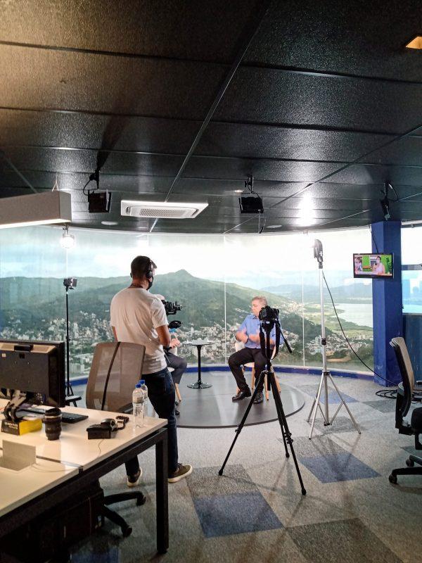Gean Loureiro em entrevista na redação integrada do Grupo ND – Foto: Fabio Gadotti/ND