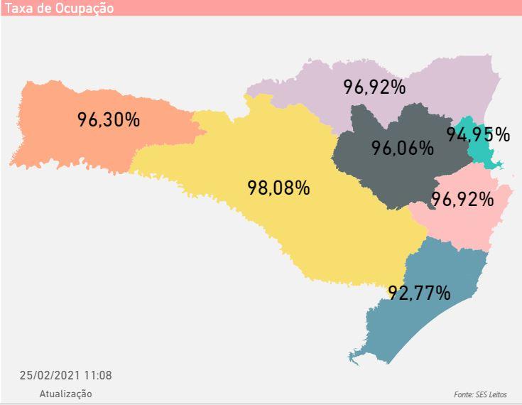 Mapa mostra taxa de ocupação dos leitos por região