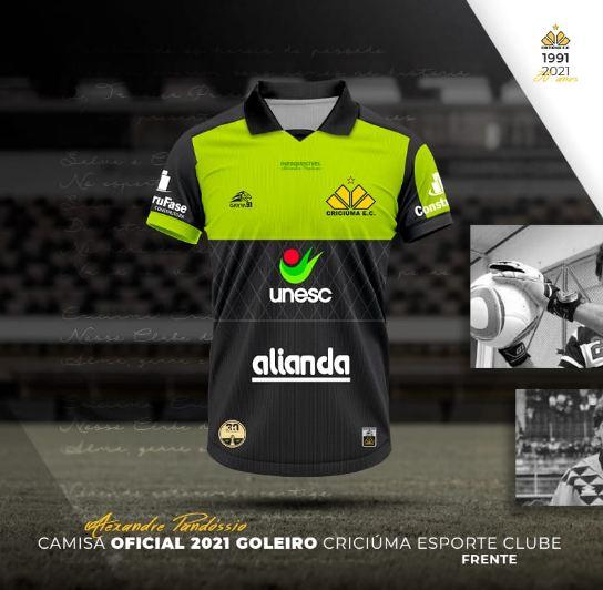 Parte de frente do uniforme do goleiro - Divulgação/Criciúma/ND