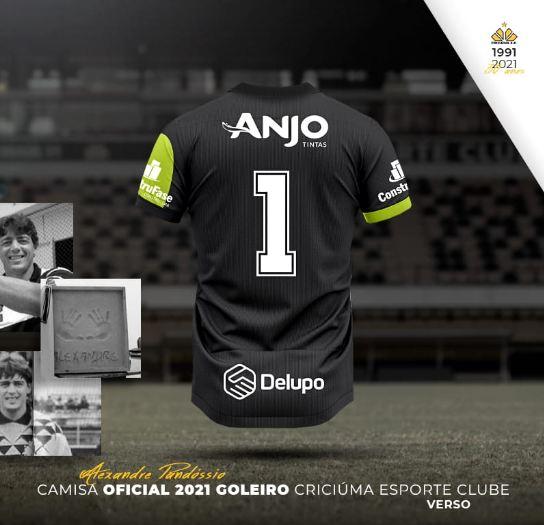 Verso do uniforme do goleiro - Divulgação/Criciúma/ND