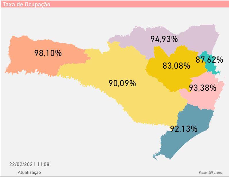 Mapa mostra taxa de ocupação de leitos para pacientes com Covid-19