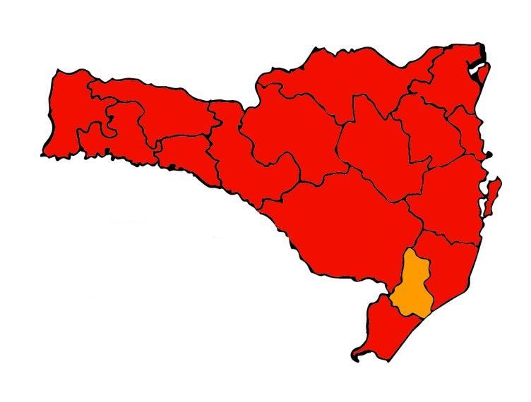Novo mapa de risco potencial para contágio pelo coronavírus mostra 15 regiões em nível gravíssimo – Foto: Divulgação/SES SC