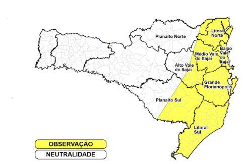 Toda a faixa leste do Estado têm risco moderado para desastres por conta de temporais – Foto: Divulgação/Defesa Civil/ND