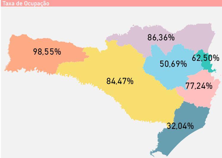 Mapa mostra taxa de ocupação dos leitos para pacientes com Covid-19