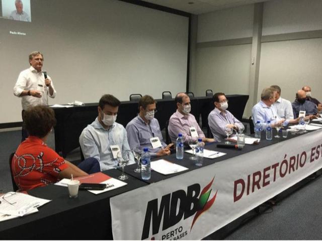Reunião do MDB aconteceu nesta manhã em Florianópolis – Foto: Reprodução/ Redes Sociais