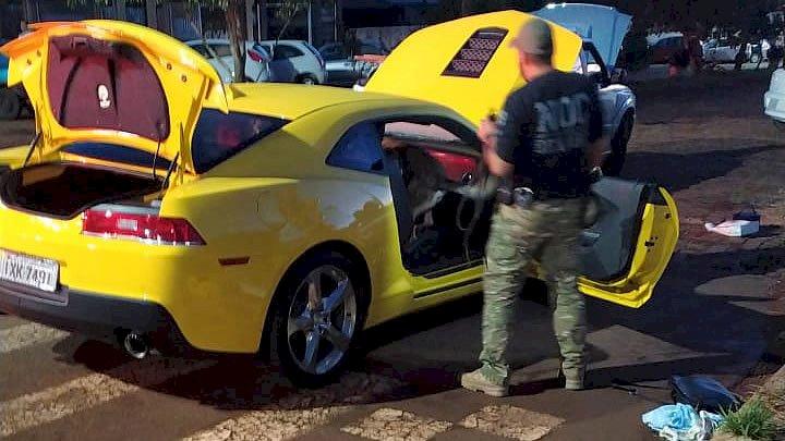 O Camaro amarelo foi retirado de circulação.Modelo é avaliado em aproximadamente R$ 400 mil – Foto: Polícia Militar/Divulgação/ND