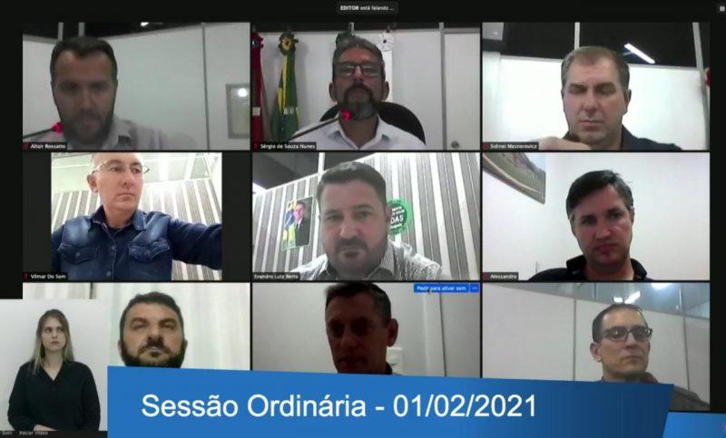 Primeira sessão ordinária aconteceu de forma virtual – Foto: Câmara de Vereadores/Divulgação/ND