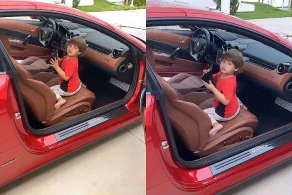 Filhos de Gusttavo Lima e Andressa Suita brincam no luxuoso carro do pai – Foto: Reprodução/ND