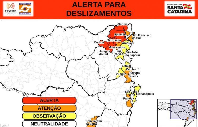 Defesa Civil alerta para risco de deslizamentos nas regiões em destaque do mapa – Foto: Defesa Civil/Divulgação/ND