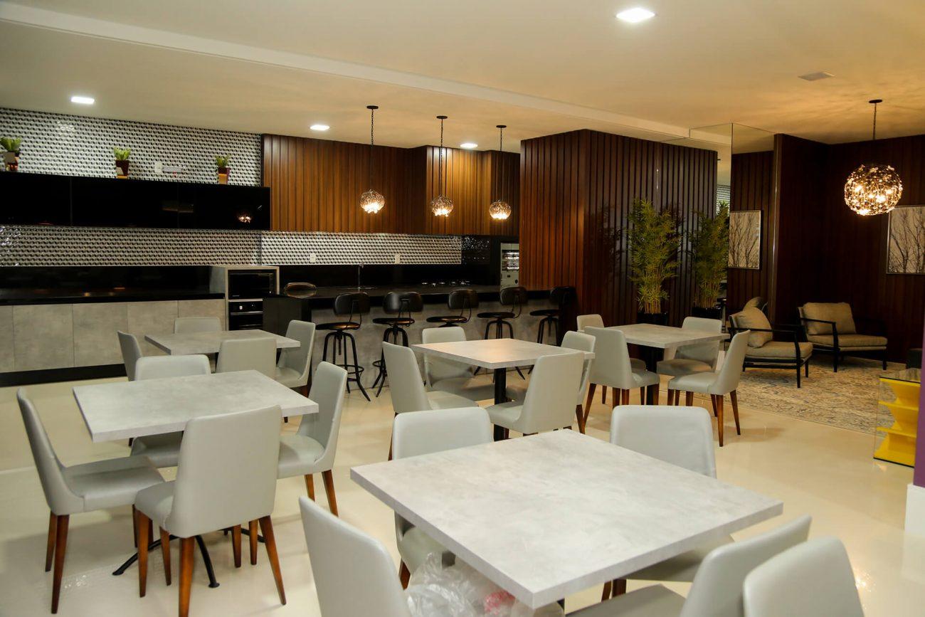 Salão de festas do residencial Millenium Palace - AM Construções/Divulgação