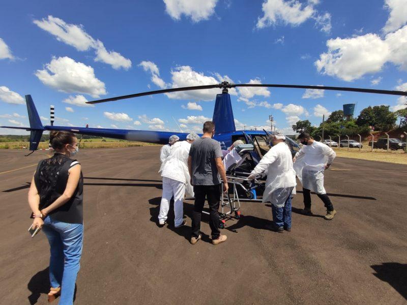 Na quarta-feira Xanxerê disponibilizou profissionais para acompanhar um paciente que foi levado com a aeronave cedida para um hospital em Rio do Sul. – Foto: Reprodução/ND
