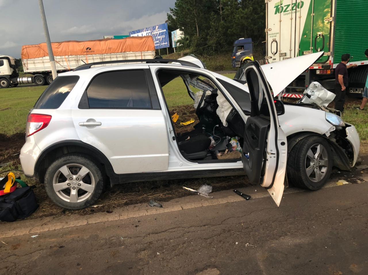 Acidente foi registrado no fim da tarde de quarta-feira (24) e atendido pelos bombeiros voluntários e Samu - Corpo de Bombeiros Voluntários/Divulgação