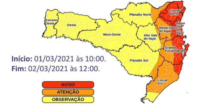 Santa Catarina tem alerta para chuvas volumosas com risco de estragos – Foto: Defesa Civil/Divulgação