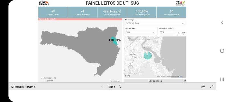 Mapa mostra UTI adulta de Itajaí 100% ocupada – Foto: Reprodução Governo de Santa Catarina