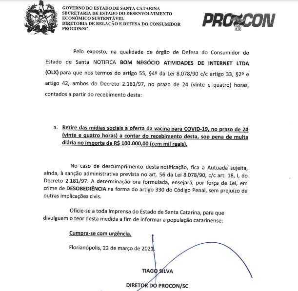 Procon notifica a empresa OLX, após caso exposto nos canais do Grupo ND – Foto: Procon/divulgação/ND