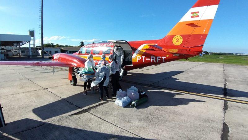 O paciente de 67 anos chegou a Vitória (ES) no dia 4 de março. – Foto: CBMSC/Divulgação/ND