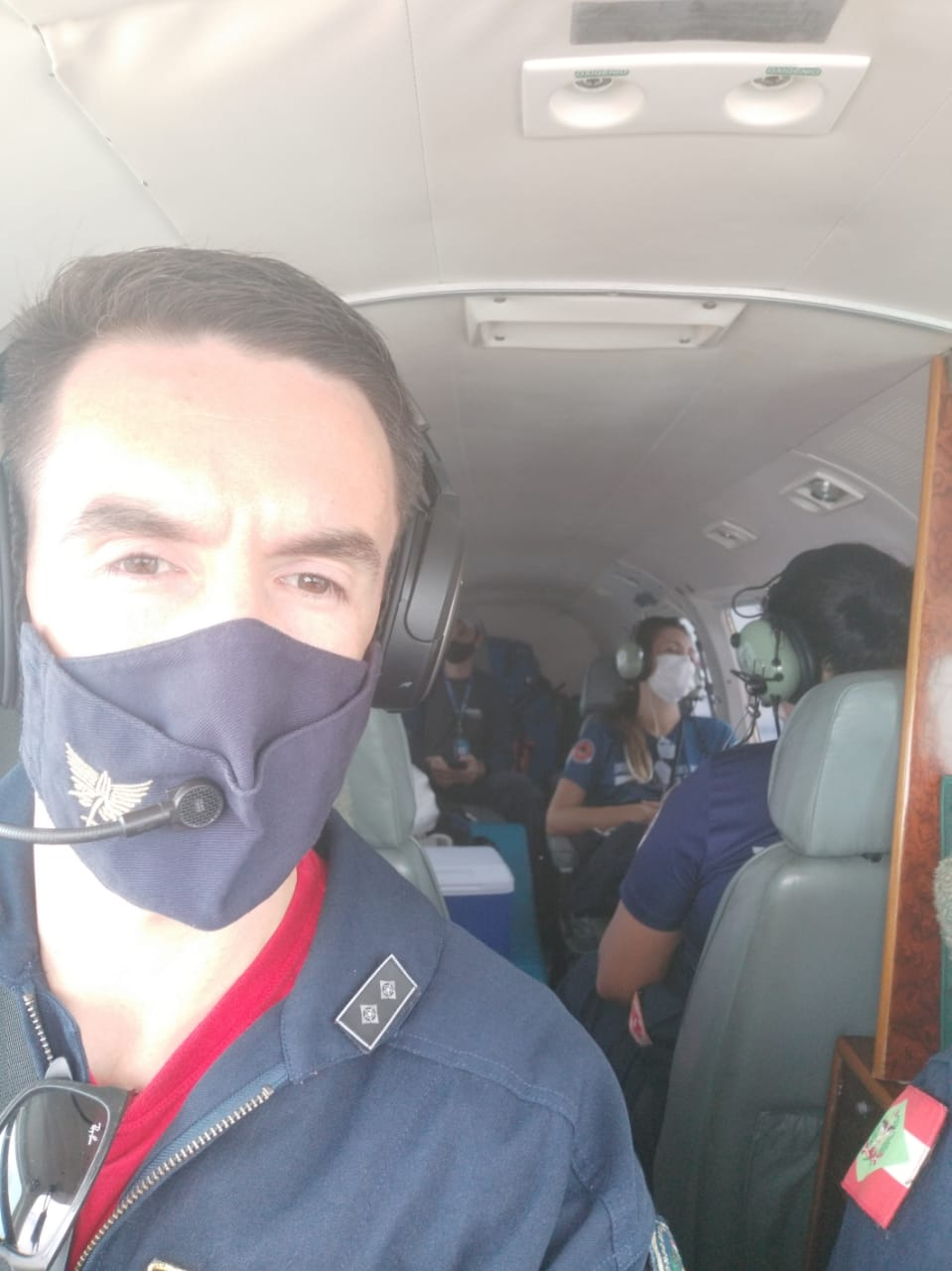 Tripulantes registraram momentos no voo. - CBMSC/Divulgação/ND