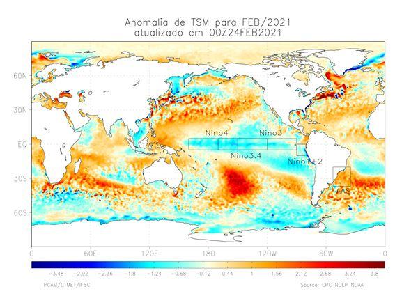 A queda na TSM (temperatura da superfície do mar) no Pacífico configura a La Niña – Foto: Divulgação/Epagri/Ciram