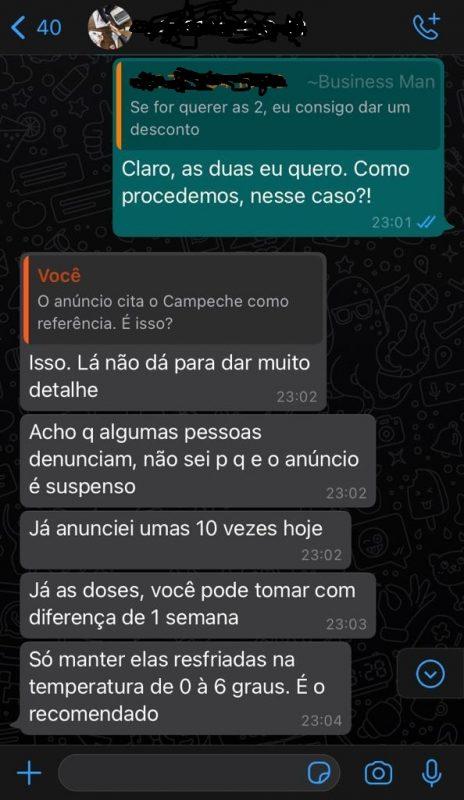 """Conversa sobre compra da vacina, golpe aplicado e já investigado; golpista orienta como """"manusear"""" as doses da vacina – Foto: Divulgação/ND"""