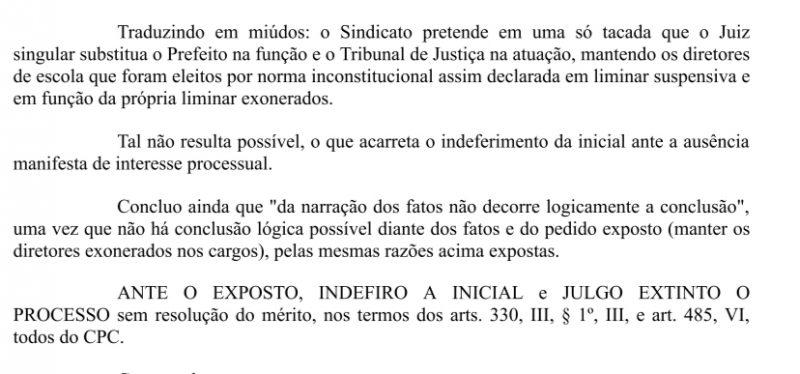 Parte da decisão do Juiz Pedro Aujor – Foto: Reprodução