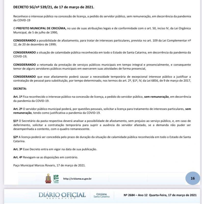 Decreto de Clésio Salvaro permite lockdown sem remuneração – Foto: Reprodução Diário Oficial Criciúma