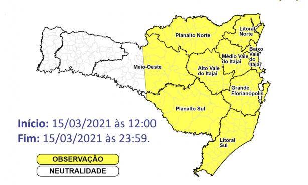 O risco é moderado para ocorrências nas áreas em amarelo – Foto: Defesa Civil/Divulgação/ND