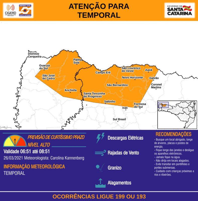 Previsão de temporal para as próximas horas nas cidades do Extremo-Oeste de SC – Foto: Defesa Civil SC/Divulgação