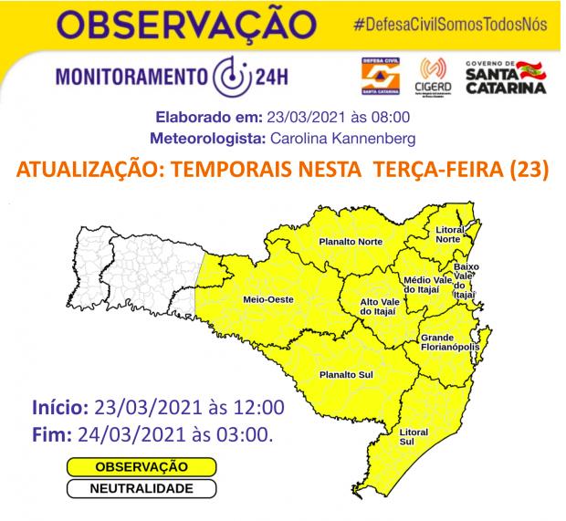 Defesa Civil emite alerta de temporais nas áreas em amarelo no mapa – Foto: Defesa Civil/Divulgação/ND