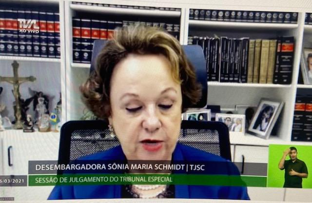 Desembargadora Sônia Maria Schmidt TJSC – Foto: Reprodução