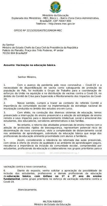 Documento anexado pelo ministro a sua publicação – Foto: Reprodução/ND