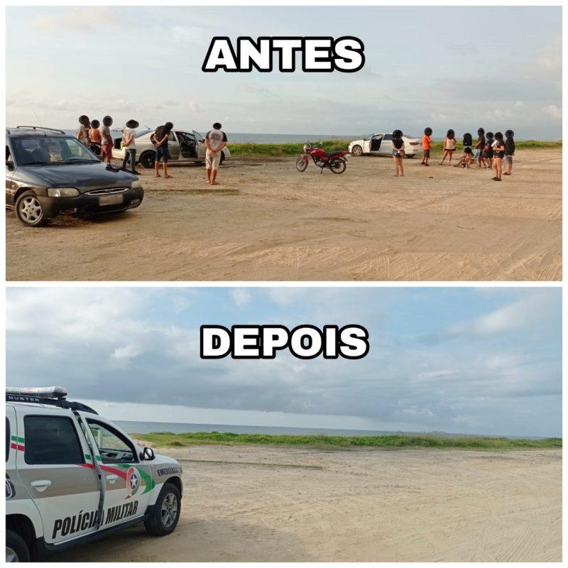 Festa acontecia na manhã deste domingo (14) na Praia Grande – Foto: Polícia Militar/Divulgação