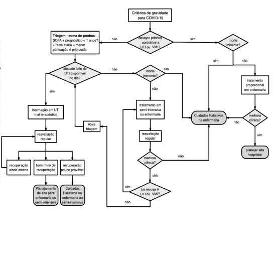 Fluxograma do protocolo de prioridade de leitos de UTI nos hospitais de Santa Catarina – Foto: Divulgação/ND