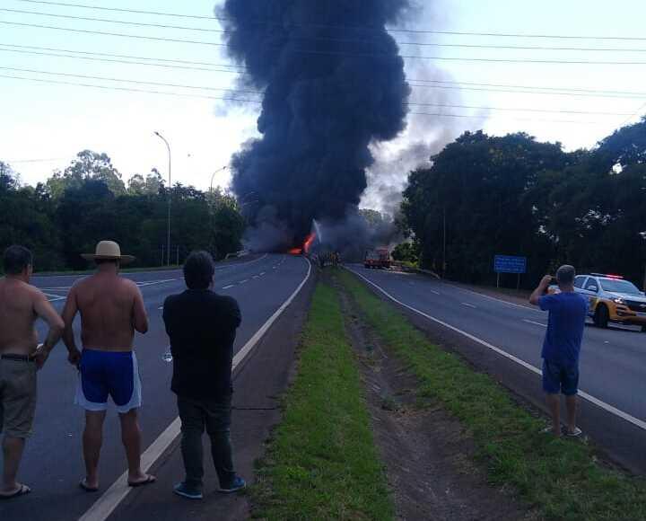 Caminhão de combustível explodiu na BR-386, no Rio Grande do Sul – Foto: Divulgação/ND