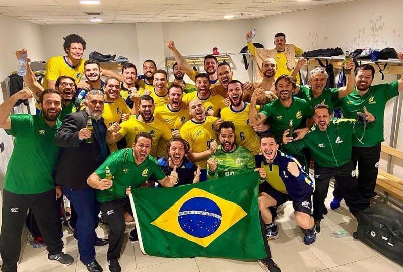 Seleção Brasileira de Handebol comemora a vaga nas olimpíadas de Tóquio. – Foto: projeto.atleta/divulgação/ND