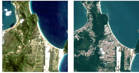 Os estudos feito pela Epagri/Ciram identificam que essa expansão aconteceu em áreas de agropecuária, atingindo um menos os lugares com mata nativa e mangue. A imagem acima refere-se ao bairro Ingleses, no Norte da Ilha – Foto: Divulgação/ND
