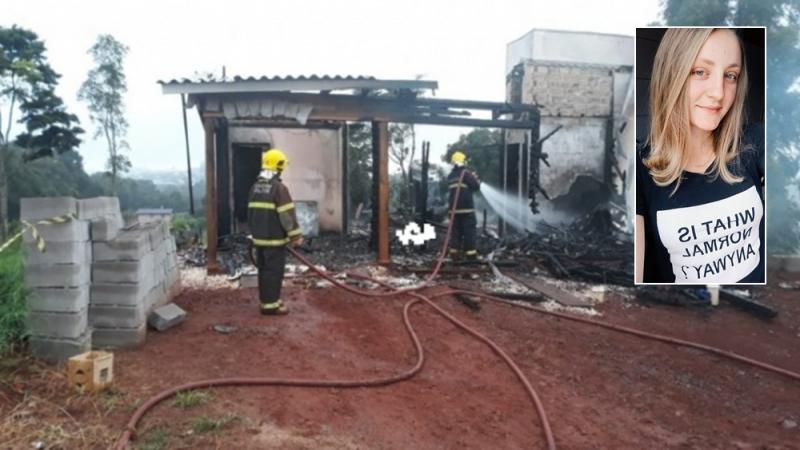 Jovem de 22 anos morreu carbonizada durante incêndio em residência em Descanso, no Estremo-Oeste de Santa Catarina – Foto: Aléssio Jr/Rádio Progresso AM/Divulgação