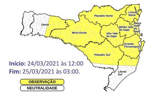 Temporais isolados em Santa Catarina – Foto: Divulgação/Defesa Civil