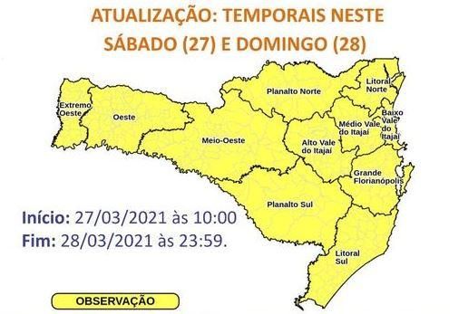 Alerta de temporais neste fim de semana em Santa Catarina – Foto: Divulgação/Defesa Civil