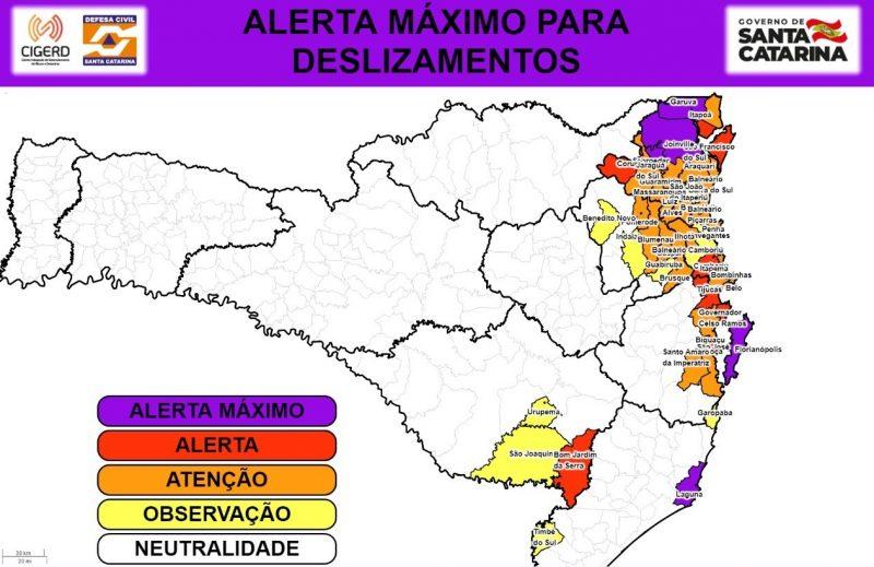 Mapa mostra risco de deslizamentos em várias cidades do Estado – Foto: Defesa Civil/Divulgação