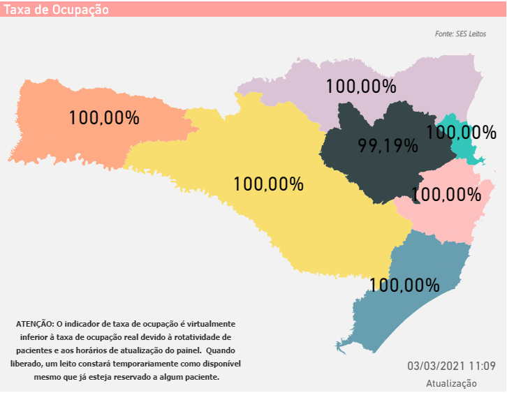 Mapa mostra ocupação de 100% na rede hospitalar em seis das sete regiões do Estado – Foto: SES/Divulgação