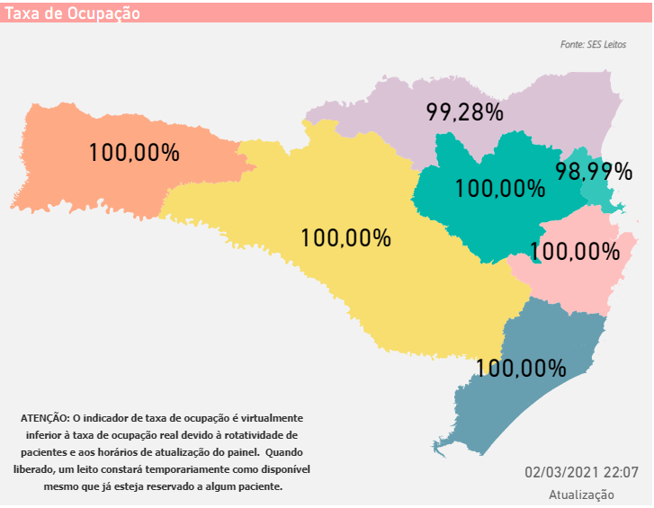 Mapa mostra a situação dos leitos de UTI em todo o Estado de Santa Catarina – Foto: SES/Divulgação