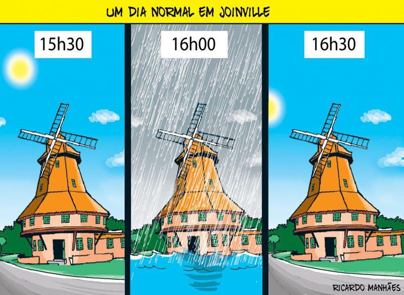 A dica para o joinvilense é: tenha sempre um guarda-chuva preparado, mesmo com sol! – Foto: Arte/Ricardo Manhães