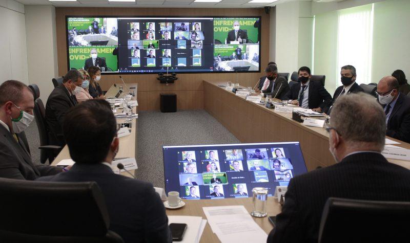 Ministro da saúde, Marcelo Queiroga, durante reunião sobre COVID 19 com o Congresso Nacional
