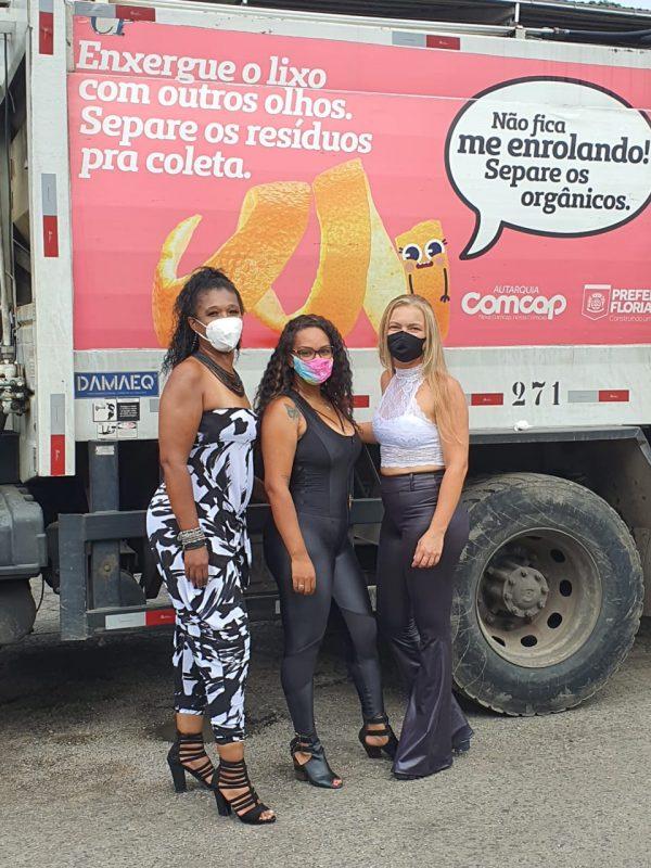 Rafaele Terezinha dos Santos, Elaine Bernardo e Geovana Duarte Farias fazem parte da equipe feminina da Comcap – Foto: Adriana Baldissarelli/Divulgação SMMA/PMF