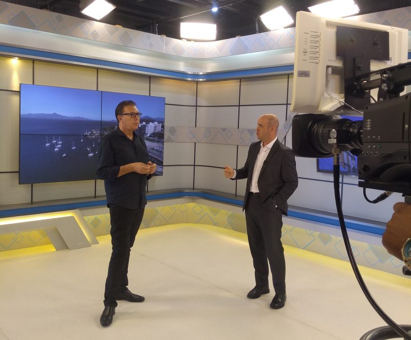 Orvino Coelho em entrevista ao apresentador Raphael Polito, no Balanço Geral – Foto: Paulo Rolemberg/ND