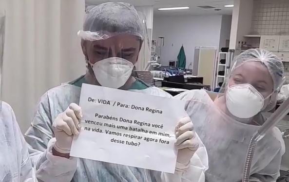 Médico anunciou a melhora da paciente em cartaz – Foto: Redes sociais