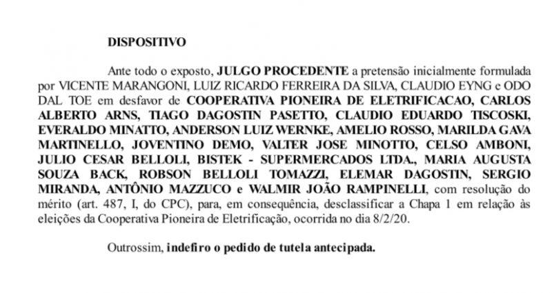 Divulgação – Foto: Parte da decisão da Justiça que anulou chapa 1 coopera