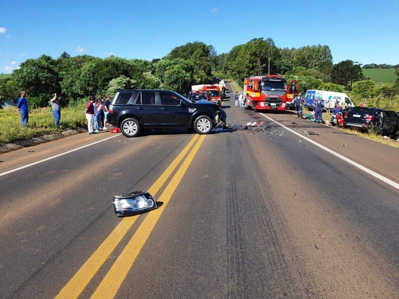 A PRF (Polícia Rodoviária Federal) e o Corpo de Bombeiros atenderam um acidente envolvendo dois carros na tarde desta quarta-feira (10). – Foto: PRF/Divulgação/ND
